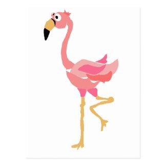 WW- Funny Flamingo Primitive Art Cartoon Postcard