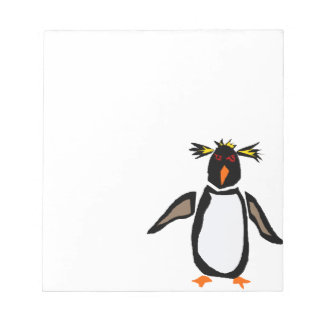 WW- Funny Rockhopper Penguin Primitive Art Notepad