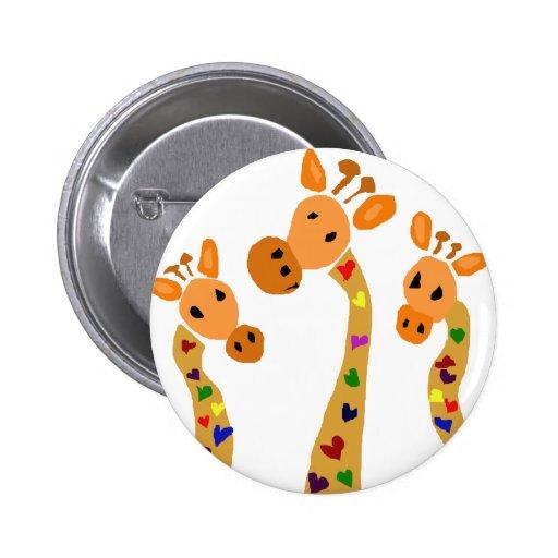 WW- Giraffe and Hearts Primitive Art Cartoon Button