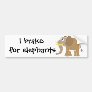 WW- Primitive Art Elephant Bumper Sticker
