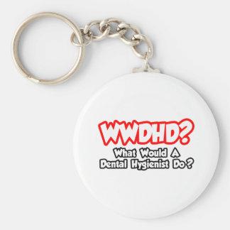 WWDHD...What Would a Dental Hygienist Do? Basic Round Button Key Ring