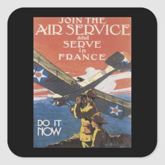 WWI Advertisement Enlisting Square Sticker