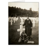 WWI American Mother at her sons grave in France Card