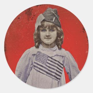 WWI Girl in Flag Dress Round Sticker