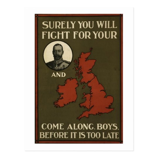 WWI Recruitment Poster Postcard