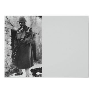 WWI Soldier in Gas Mask 14 Cm X 19 Cm Invitation Card