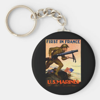 WWI US Marines Basic Round Button Key Ring