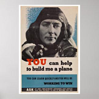 WWII Aircraft Pilot - Vintage Patriotism Poster
