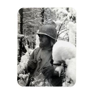WWII American Soldier in Bastogne Rectangular Photo Magnet