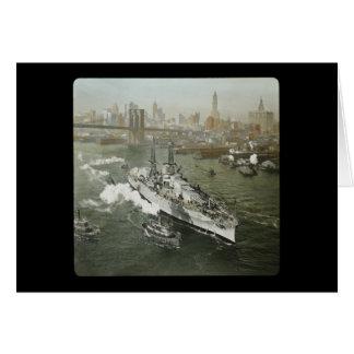 WWII Battleship on the Hudson River Vintage Greeting Card