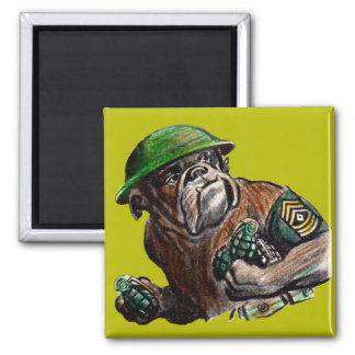 WWII bulldog dog soldier Sgt. Rover Square Magnet