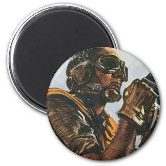 WWII Gunner 6 Cm Round Magnet