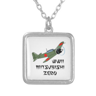 WWII Japanese Warbird Square Pendant Necklace