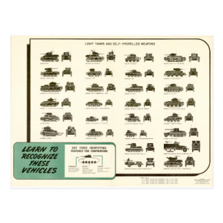 WWII Light Tank ID Chart Postcard