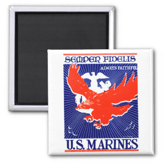 WWII Marine Corps Poster Square Magnet