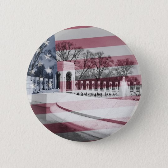 WWII Memorial with Flag Overlay 6 Cm Round Badge
