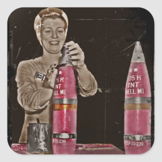 WWII Mom Making a Bomb Square Sticker