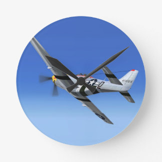 WWII P51 Mustang Fighter Plane Round Clock
