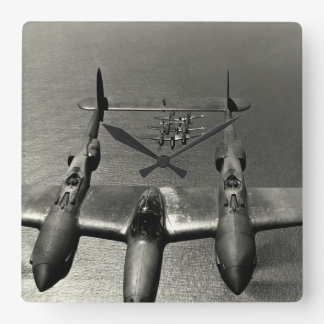 WWII P-38 Lightnings Square Wall Clock