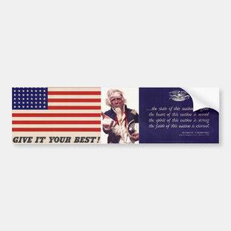 WWII Patriotic Poster Bumper Sticker