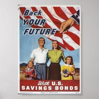 WWII Patriotic Poster / Saving Bonds