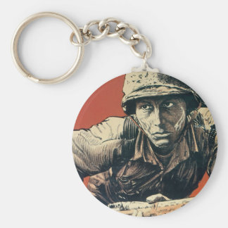 WWII Soldier Basic Round Button Key Ring
