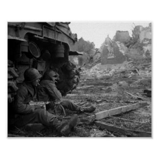 WWII Soldiers and Weapons by Burned Out Tank Poster