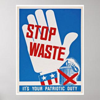 WWII Stop Waste - Vintage Patriotism Print