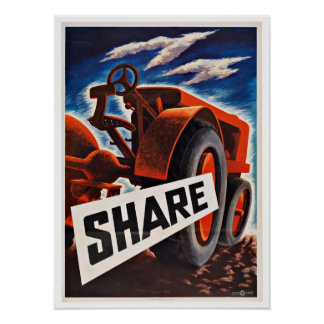WWII Tractor Share - Vintage Patriotism Poster