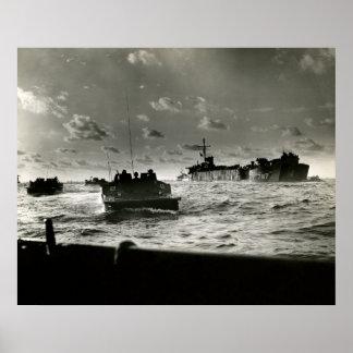 WWII US Marines assault Iwo Jima Poster