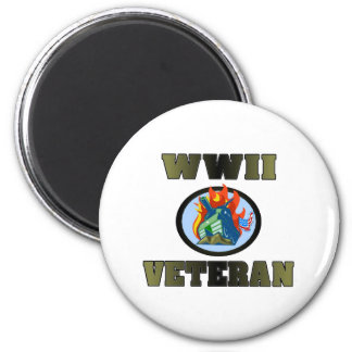 WWII Veteran 6 Cm Round Magnet