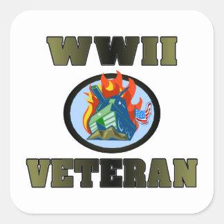 WWII Veteran Square Sticker