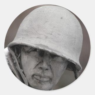 WWII Veteran Statue Round Sticker