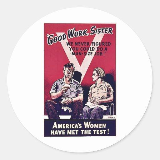 Wwii Women Classic Round Sticker