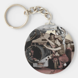 WWII Women Working on Airplane Basic Round Button Key Ring