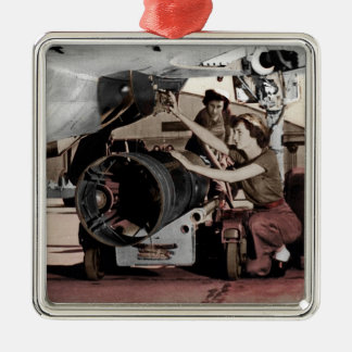WWII Women Working on Airplane Christmas Ornament