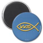 WWJD Fish Symbol Magnet
