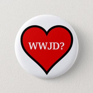 WWJD Heart 6 Cm Round Badge