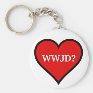WWJD heart Key Ring
