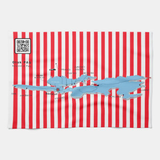 www.zrcebea.ch - map/towel/flag of island Pag Tea Towel