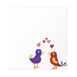 WX- Colorful Love Birds Primitive Art Notepad