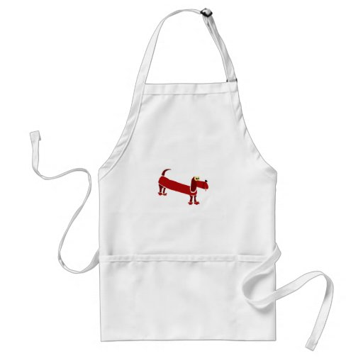 WX- Funny Dachshund Primitive Art Aprons