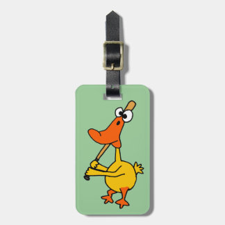 WX- Funny Duck Playing Baseball Cartoon Luggage Tag