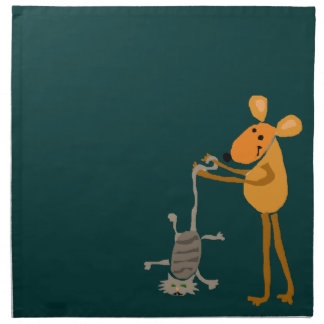 WX- Funny Mouse Holding Cat Cartoon Napkin