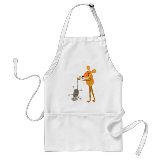 WX- Funny Mouse Holding Cat Cartoon Standard Apron