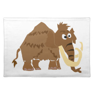 WX- Funny Woolly Mammoth Primitive Art Place Mats