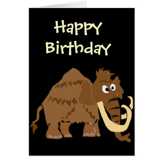 WX- Funny Woolly Mammoth Primitive Art Greeting Card