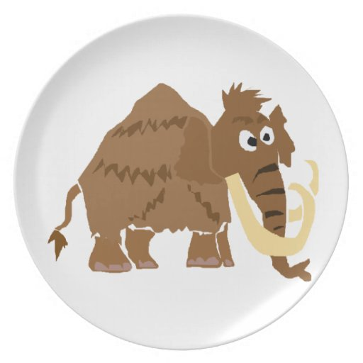 WX- Funny Woolly Mammoth Primitive Art Plate