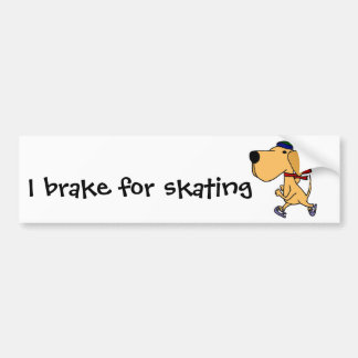 WY- Funny Labrador Dog Ice Skating Bumper Stickers