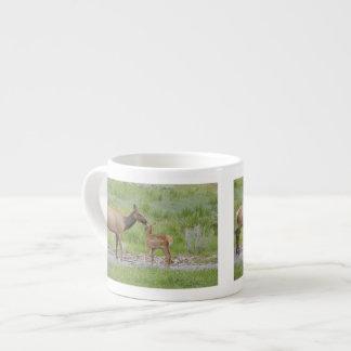 WY, Yellowstone National Park, Elk calf and Espresso Mug
